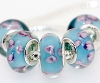 Set of 5 pieces 925 Silver Core Murano Glass Beads Fit European Charm Bracelet Free Ship IL074 trew bviul vg gbvfpt