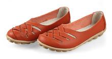 Mulheres sandálias de verão sapato nova moda feminina de couro genuíno de trabalho Ladies Flats sapatos oco Out enfermeiros sapatos musculares vaca(China (Mainland))