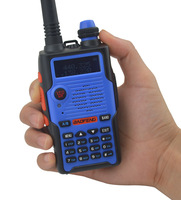 Color Blue BF-E500S 136-174MHz & UHF400-520MHz Dual Band 5W/1W 128CH FM 65-108MHz with Free Earphone Portable Two-way Radio