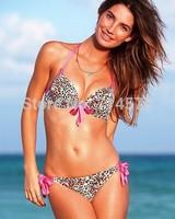 new 2014  Fashion Brand high quality sexy swimwear women push up bikini swimwear print bikinis set  8077