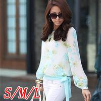 2014 New chiffon flower lantern sleeve lacing belt loose chiffon shirt chiffon top