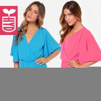 Summer fashion 2014 new women dress V-neck Dress batwing sleeve slim waist lady chiffon dresses women clothing Free shipping