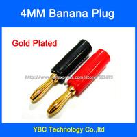 Free Shipping 20pcs/lot 4mm Banana Plug Gold Plated Connector Jack Banana Head Black and Red Color
