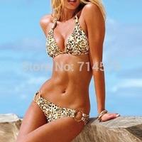 new2014  Fashion Brand high quality Leopard sexy swimwear women push up bikini swimwear print bikinis set