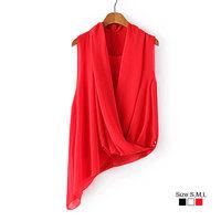 HZA096 Brand New Fashion Women irregular Solid Color Shirts V Neck Sleeveless Chiffon Casual Slim White/Black/Red Blouses Tops