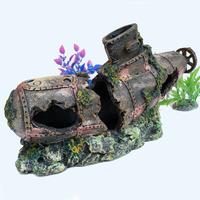 Aquarium Ornament decoration SUBMARINE fish boat with holes for fish aquatic tank free shipping