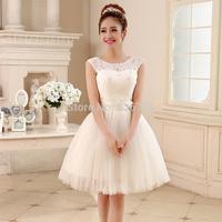 Design short wedding dress formal dress 2014 lace slit neckline double-shoulder 212 6 for summer