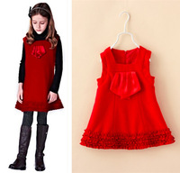 Kids Girl Woolen Party Dress Sleeveless Ruffles Bottom Baby Children Christmas Clothing Red Color Winter New 2014 Wholesale