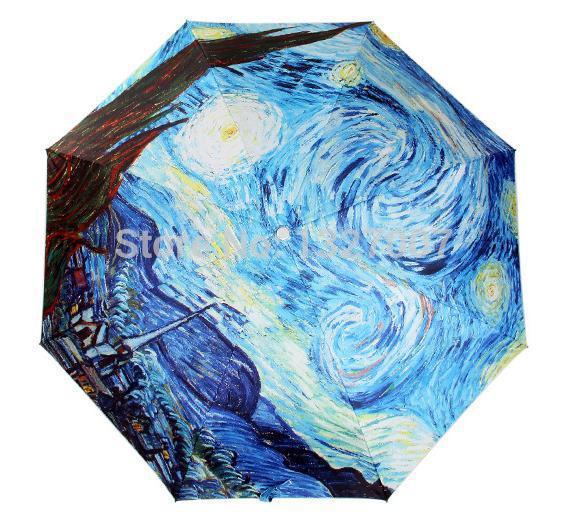 21-inch oil painting Van Gogh masterpiece umbrella sun umbrella UV umbrella Clear Vinyl 3 fold umbrella free shipping(China (Mainland))