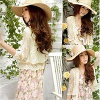 Free Shipping  2014 Summer in women summer sun thin woman coat waistcoat short cardigan sweater shawl lace wild