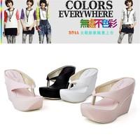 Thick bottom sandals women summer fashion high heels wedge flip slippers short restoring ancient ways leopard slippers 34-43