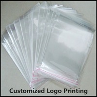 200PCs Clear Self Adhesive Seal Plastic Bags 16x24cm Can customized Logo Printing