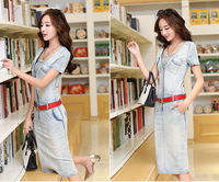 High Quality 2014 Summer Hot-selling Dress Short Sleeves V-neck Casual Denim Dress M-XL SG-3057
