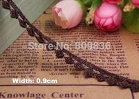 0.9CM width, Brown Garment lace, fabric furnishing warp knitting,embelishments for cloth,trim lace scrapbooking(aa-1011)