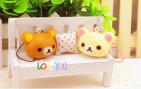 2014 new arrival anime japan mini 3cm rilakkuma squishy charm mobile phone pendant with strap freeshipping