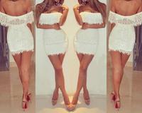 "2014 new Winter European and American nightclub sexy low cut dress white lace dress Strapless Halter ""women summer Mini dresses"