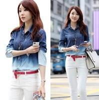 2014 autumn Korean fashion slim fit gradient women blouse blue denim jeans casual lapel female shirts blusas femininas