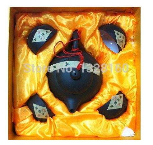 5pcs Tea set Gift Elegant Chinese Ceramic cups Purple sand ceramic set 5 purple kung fu