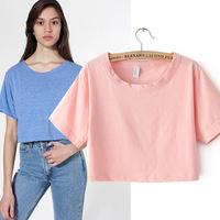 2014 summer T-shirt women crop top fluorescent color loose round neck short paragraph retro waist burned casual t shirt 6 colos