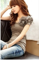 2014 new women's sweet style three-dimensional pearl chiffon flowers Slim Puff Sleeve cotton short-sleeved T shirt
