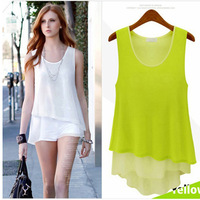 FS1268 New Fashion Women Summer O-neck Chiffon loose sleeveless chiffon shirt women fake two pieces blouses S-XL