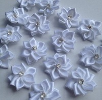 40p 25mm White Color Ribbon Flowers With Rhinestone Garment Sewing Supplies Handmade Appliques