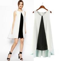 Free shipping New 2014 summer women dress European American apparel simple elegant vestidos black & white desigual vest dresses