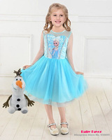 Free Shipping Girls Kids Baby Children Frozen Elsa Ice Girl Queen Princess Toddlers Dress Clothes Clothing Costume 2-7 Years
