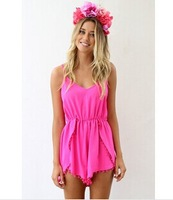 New In 2014 Summer Women Rompers Ladies Sweet Sleeveless Lace Short Jumpsuit Playsuit For Female Free Shipping