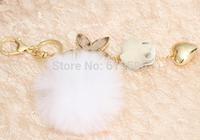 Detonation model of roses sable hair bulb key chain alloy hearts handbags accessories
