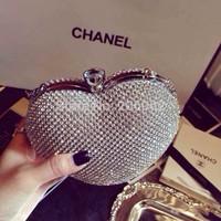 Czech diamond luxury diamond bridal bag clutch bag evening bagrhinestone peach heart shaped clutch bag handbag black gold silver