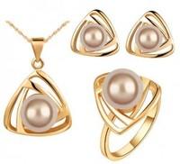 Fashion austria crystal women Beautiful pearls pendant necklace/earrings/rings bride wedding Jewelry Sets