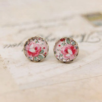 12pairs/lot Ethnic Peony Flower Earrings Vintage Stylish Girls Women Stud Earrings 10mm rd036