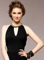 2014 Hot Sale Summer New Women Female Long Dress Sleeveless Women's Exquisite Solid Rhinestone Sexy Ladies Evening Dresses