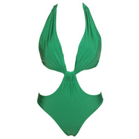 Halter gather sexy bikini swimwear casual summer hollow piece swimsuit
