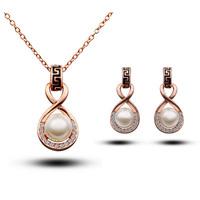 Fashion austria crystal women Beautiful pearls pendant necklace/earrings bride wedding Jewelry Sets