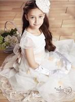 2014 new Girls Dress Princess dress children's wear Party veil Big bow girl wedding flower Baby girls dress pink white