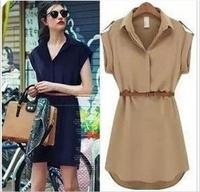 2014 New Arrival Brand Women dress Short Sleeve Chiffon dress With Belt free Shipping S-2XL