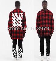 2014 new fashion tartan shirt men street hip hop pyrex and off white shirts skateboard streetwear urban