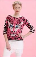 2014 Autumn Female Animal Print Design Pullover Sweater Long Sweater Casual Dress Plus Size Fashion Basic Blouses   YJZ014