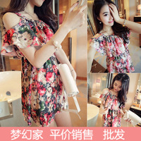 Free Shipping  2014 Korean version of the pastoral summer foreign trade Floral hollow shoulder strap flounced chiffon dress