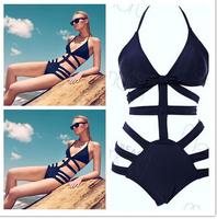 2014 new High Quality Fashion NEW Black Bandage Bikinis Hollow Out Wholesale Sexy Bikini Swimwear Black Bikini Swimsuit  S M L