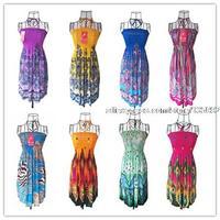 2014 New Milk Silk Good Quality Floral Print Women's Summer Beach Dress,Braces Hanging Neck Fashion Bohemian Dresses For Women
