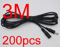 200pcs Power supply DC 5.5 x 2.1mm Female to Male Plug Cable adapter extension cord 3M 300cm 10FT for CCTV LED Monitor