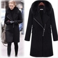 UK Brand Women Winter Coat  2014 New Fashion Black Fake Fox  Fur Collared Woolen Long Coat  Nibbuns Outerwear Free Shipping