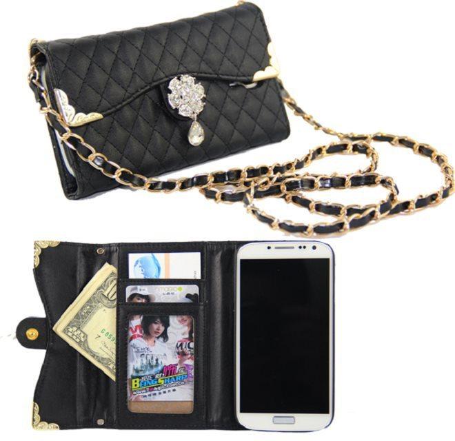 Strap Rose Diamond Long Chain Shoulder Bag for Samsung Galaxy S5 i9600 Telephone Bag for S4 i9500 S3 i9300 Handbag Gold Line(China (Mainland))
