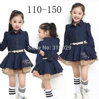 2014 New Long sleeve dress Girl Mini denim dresses Ruffles High quality Baby One piece dress Casual clothing