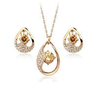 Fashion 18K white gold plated austria crystal women Super flash zircon pendant necklace/earrings wedding Jewelry Sets
