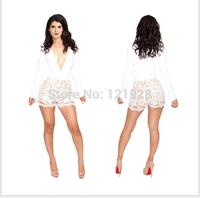 2014 Novelty Bandage Jumpsuits New Sexy Jumpsuit Deep-v Neck lace jumpsuit For Women Romper Party Clubwear Bodycon Bodysuit