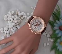 Geneva 2014 Women Leisure Leather Simulation Gold Dial Watch Quartz Watch